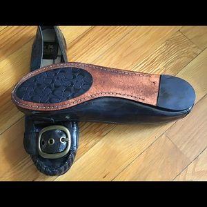 Coach Shoes - COACH black patent leather flats w/buckle size 8